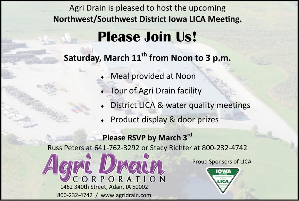 NW/SW District Meeting @ AgriDrain Corporation | Adair | Iowa | United States